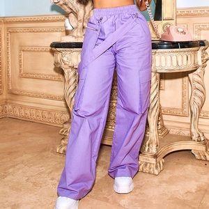Lilac Zip Pocket Detail Wide Leg Cargo Pants